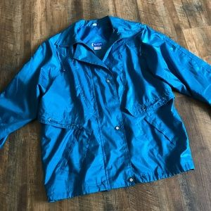 80s Retro Women's Blue/Teal Windbreaker Jacket
